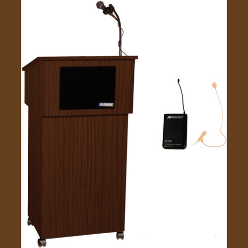 AmpliVox Sound Systems Tabletop Lectern and Multimedia Utility Cart Base with Sound System and Wireless 16 Channel UHF Single Over-Ear Headset Electret Mic Kit (Walnut)