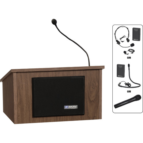 AmpliVox Sound Systems Wireless Tabletop Lectern (Walnut)