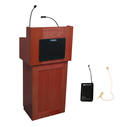 AmpliVox Sound Systems Oxford Lectern with Sound System and Wireless 16 Channel UHF Single Over-Ear Headset Electret Mic Kit (Mahogany)