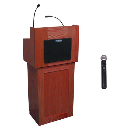 AmpliVox Sound Systems Oxford Wireless Lectern with Handheld Mic (Mahogany)