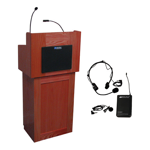 AmpliVox Sound Systems Oxford Lectern with Sound System and Wireless 16 Channel UHF Lapel and Headset Mic Kit (Mahogany)