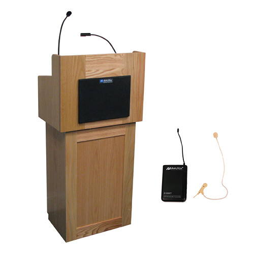 AmpliVox Sound Systems Oxford Lectern with Sound System and Wireless 16 Channel UHF Single Over-Ear Headset Electret Mic Kit (Natural Oak)