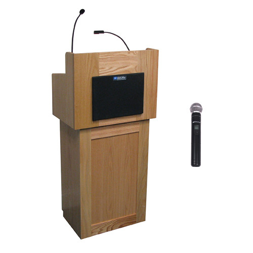 AmpliVox Sound Systems Oxford Wireless Lectern with Handheld Mic (Natural Oak)