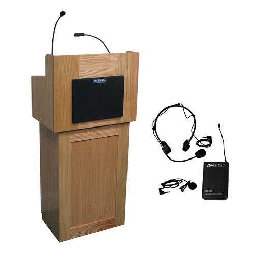 AmpliVox Sound Systems Oxford Lectern with Sound System and Wireless 16 Channel UHF Lapel and Headset Mic Kit (Natural Oak)