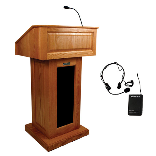 AmpliVox Sound Systems Victoria Lectern with Sound System and Wireless Over-Ear Headset (Cherry)