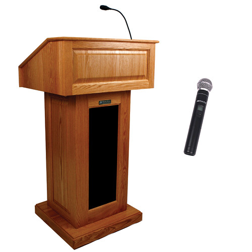 AmpliVox Sound Systems Victoria Wireless Lectern with Handheld Mic (Cherry)