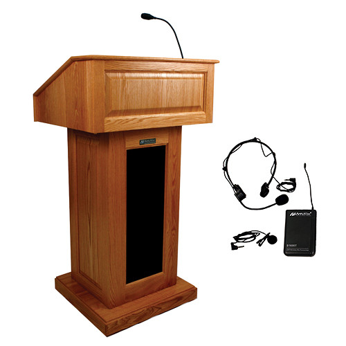 AmpliVox Sound Systems Victoria Lectern with Sound System and Wireless 16 Channel UHF Lapel and Headset Mic Kit (Cherry)
