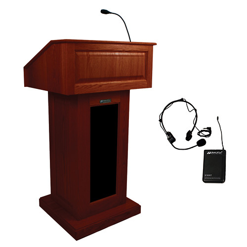 AmpliVox Sound Systems Victoria Lectern with Sound System and Wireless Over-Ear Headset (Mahogany)
