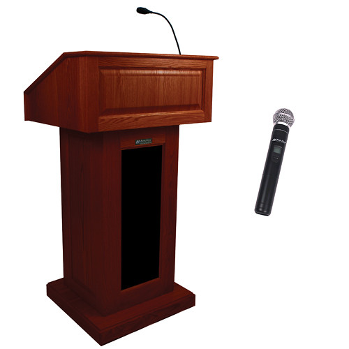 AmpliVox Sound Systems Victoria Wireless Lectern with Handheld Mic (Mahogany)