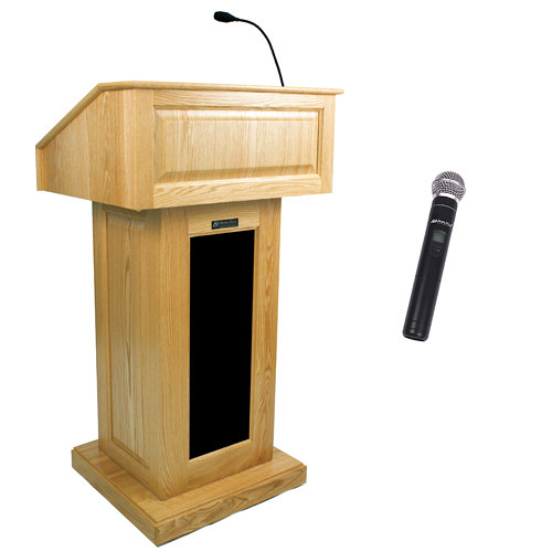 AmpliVox Sound Systems Victoria Wireless Lectern with Handheld Mic (Maple)