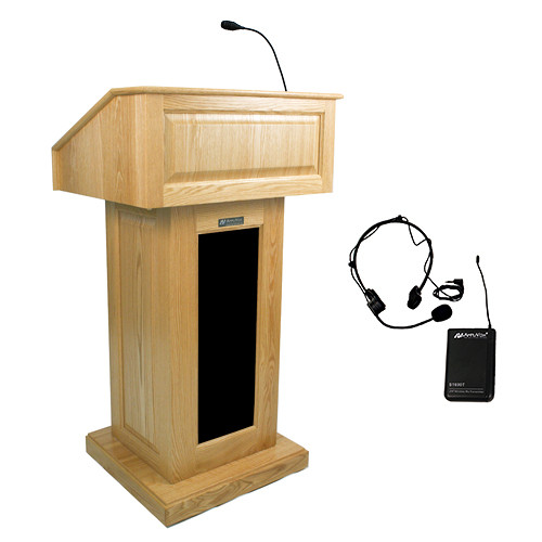 AmpliVox Sound Systems Victoria Lectern with Sound System and Wireless Over-Ear Headset (Natural Oak)