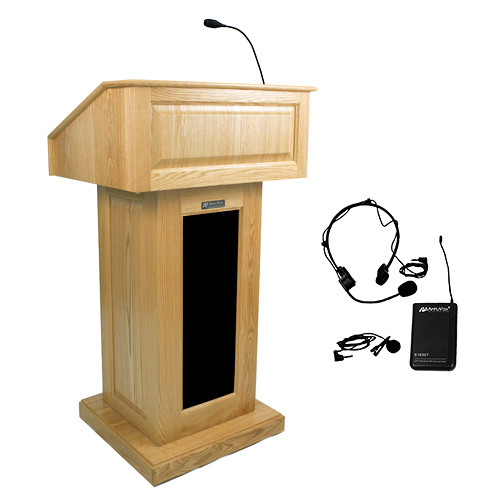 AmpliVox Sound Systems Victoria Lectern with Sound System and Wireless 16 Channel UHF Lapel and Headset Mic Kit (Natural Oak)