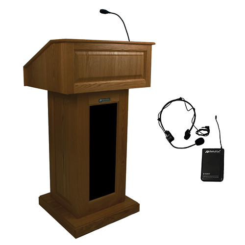 AmpliVox Sound Systems Victoria Lectern with Sound System and Wireless Over-Ear Headset (Walnut)