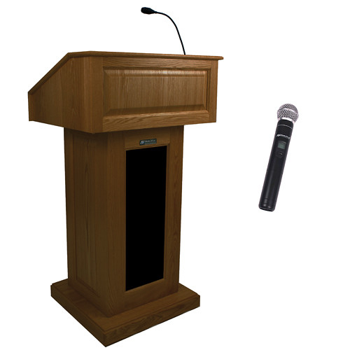 AmpliVox Sound Systems Victoria Wireless Lectern with Handheld Mic (Walnut)