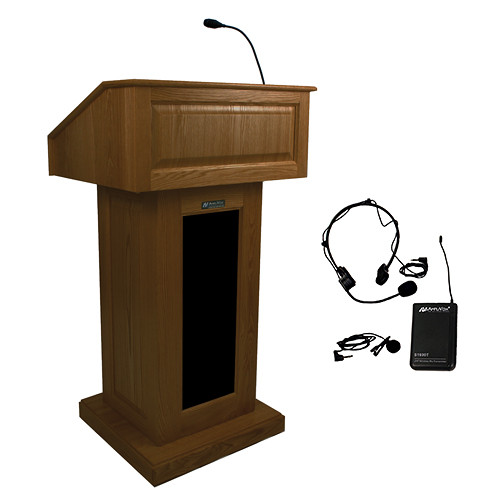 AmpliVox Sound Systems Victoria Lectern with Sound System and Wireless 16 Channel UHF Lapel and Headset Mic Kit (Walnut)