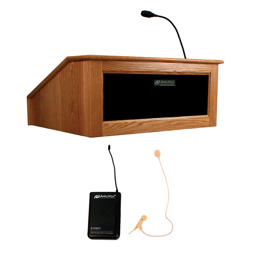 AmpliVox Sound Systems Victoria Tabletop Lectern with Sound System and Wireless 16 Channel UHF Single Over-Ear Headset Electret Mic Kit (Natural Cherry)