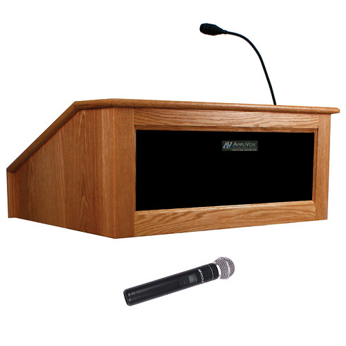 AmpliVox Sound Systems Victoria Tabletop Lectern with Wireless Sound and Handheld Mic (Natural Cherry)