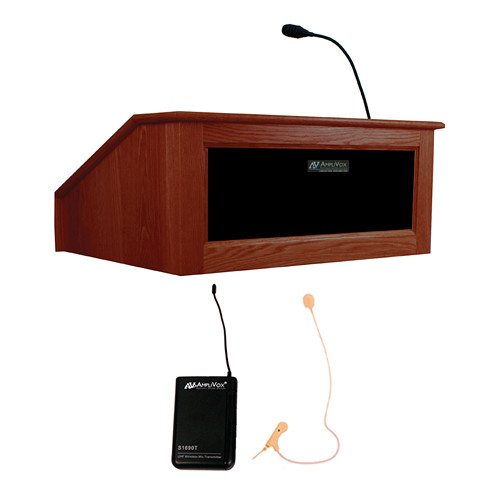 AmpliVox Sound Systems Victoria Tabletop Lectern with Sound System and Wireless 16 Channel UHF Single Over-Ear Headset Electret Mic Kit (Mahogany)