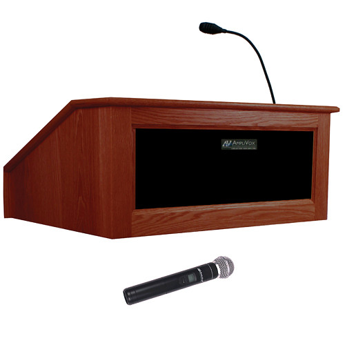 AmpliVox Sound Systems Victoria Tabletop Lectern with Wireless Sound and Handheld Mic (Mahogany)