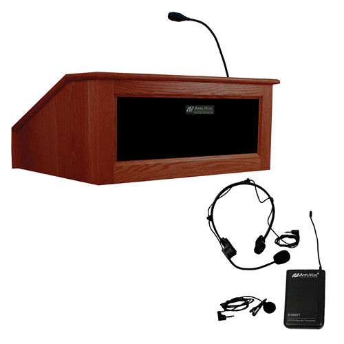 AmpliVox Sound Systems Victoria Tabletop Lectern with Sound System and Wireless 16 Channel UHF Lapel/Headset Mic Kit (Mahogany)