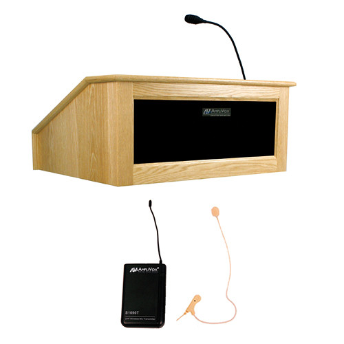 AmpliVox Sound Systems Victoria Tabletop Lectern with Sound System and Wireless 16 Channel UHF Single Over-Ear Headset Electret Mic Kit (Maple)