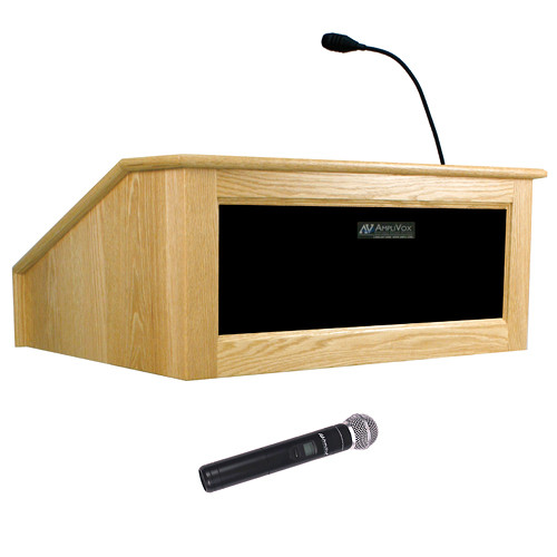 AmpliVox Sound Systems Victoria Tabletop Lectern with Wireless Sound and Handheld Mic (Maple)