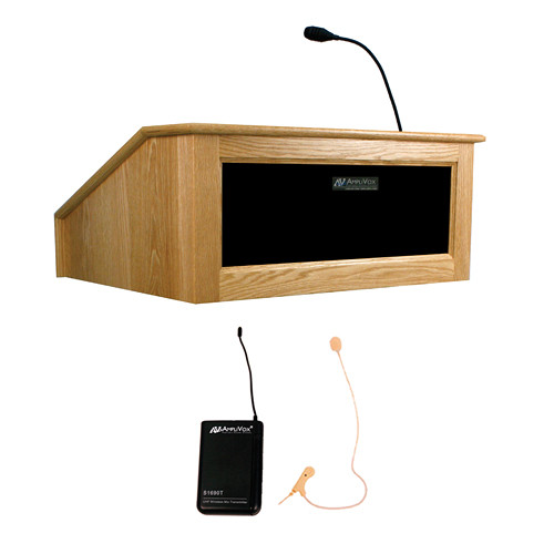 AmpliVox Sound Systems Victoria Tabletop Lectern with Sound System and Wireless 16 Channel UHF Single Over-Ear Headset Electret Mic Kit (Natural Oak)