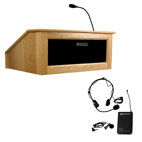 AmpliVox Sound Systems Victoria Tabletop Lectern with Sound System and Wireless 16 Channel UHF Lapel/Headset Mic Kit (Natural Oak)