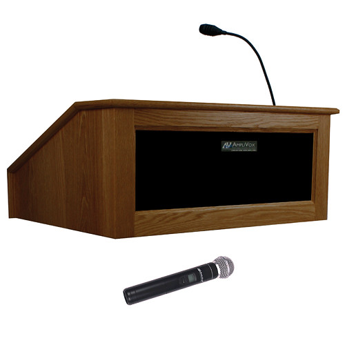 AmpliVox Sound Systems Victoria Tabletop Lectern with Wireless Sound and Handheld Mic (Walnut)