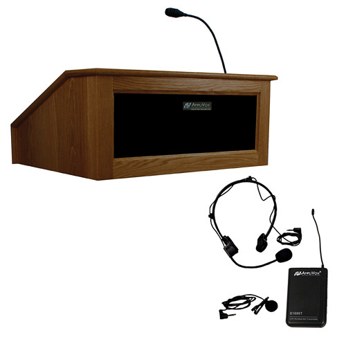 AmpliVox Sound Systems Victoria Tabletop Lectern with Sound System and Wireless 16 Channel UHF Lapel/Headset Mic Kit (Walnut)