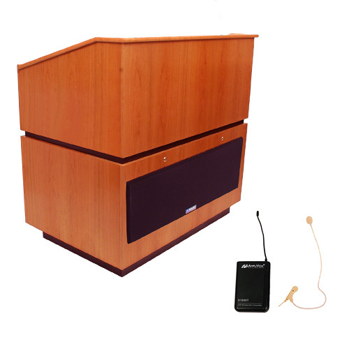 AmpliVox Sound Systems Coventry Wireless Lectern with Sound System and Over-Ear Headset (Natural Cherry)
