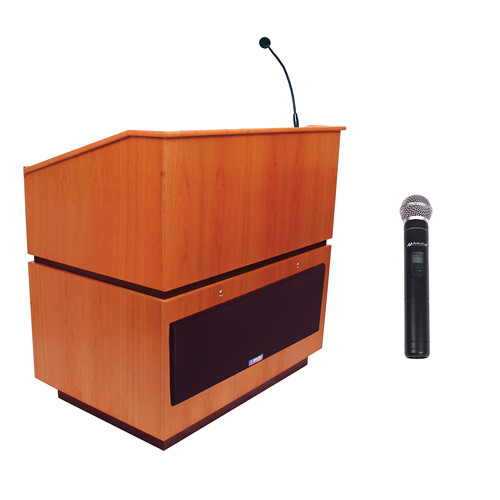 AmpliVox Sound Systems Coventry Wireless Lectern with Handheld Mic (Natural Cherry)