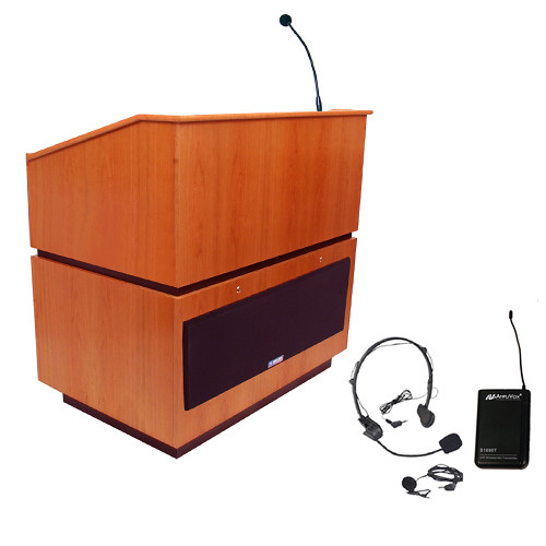 AmpliVox Sound Systems Coventry Lectern with Sound System and Wireless 16 Channel UHF Lapel and Headset Mic Kit (Natural Cherry)