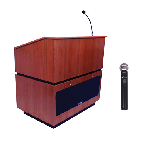 AmpliVox Sound Systems Coventry Wireless Lectern with Handheld Mic (Mahogany)