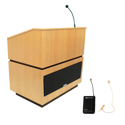 AmpliVox Sound Systems Coventry Wireless Lectern with Sound System and Over-Ear Headset (Maple)