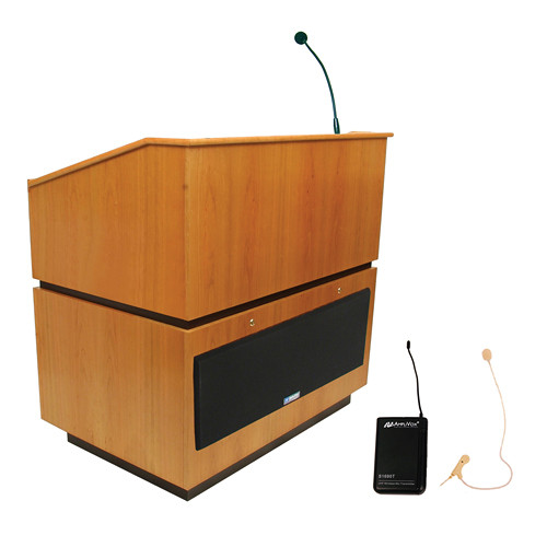 AmpliVox Sound Systems Coventry Wireless Lectern with Sound System and Over-Ear Headset (Natural Oak)