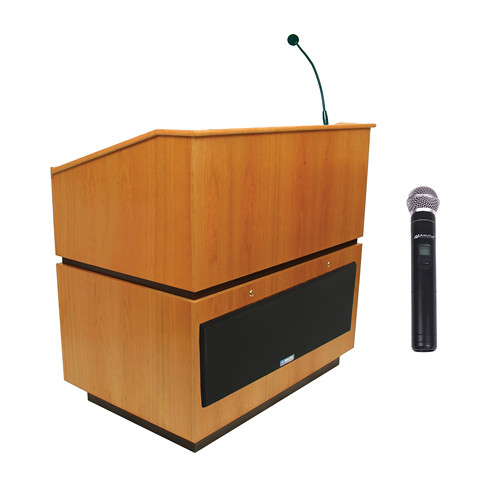 AmpliVox Sound Systems Coventry Wireless Lectern with Handheld Mic (Natural Oak)