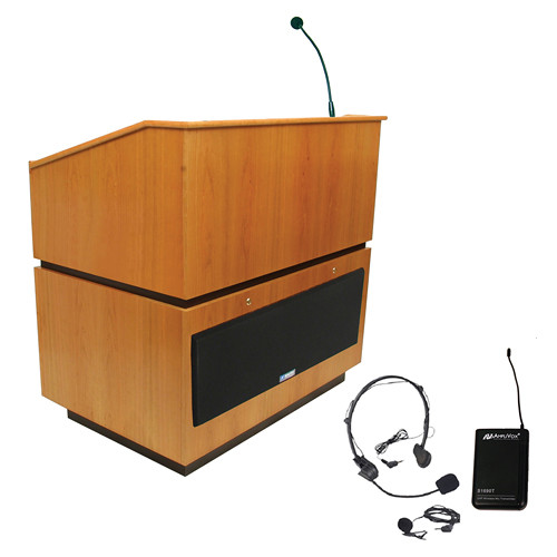 AmpliVox Sound Systems Coventry Lectern with Sound System and Wireless 16 Channel UHF Lapel and Headset Mic Kit (Natural Oak)