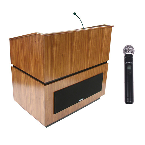 AmpliVox Sound Systems Coventry Wireless Lectern with Handheld Mic (Walnut)