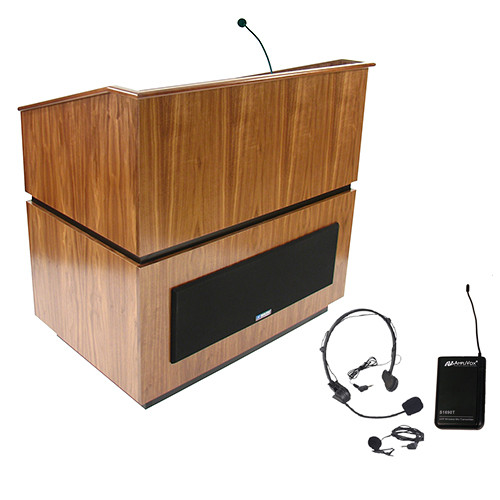 AmpliVox Sound Systems Coventry Lectern with Sound System and Wireless 16 Channel UHF Lapel and Headset Mic Kit (Walnut)