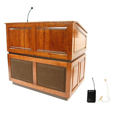 AmpliVox Sound Systems Ambassador Lectern with Sound System and Wireless 16 Channel UHF Single Over-Ear Headset Electret Mic Kit (Natural Cherry)