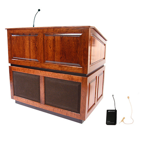 AmpliVox Sound Systems Ambassador Lectern with Sound System and Wireless 16 Channel UHF Single Over-Ear Headset Electret Mic Kit (Mahogany)