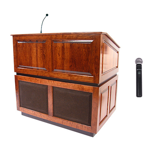AmpliVox Sound Systems Ambassador Wireless Lectern with Handheld Mic (Mahogany)
