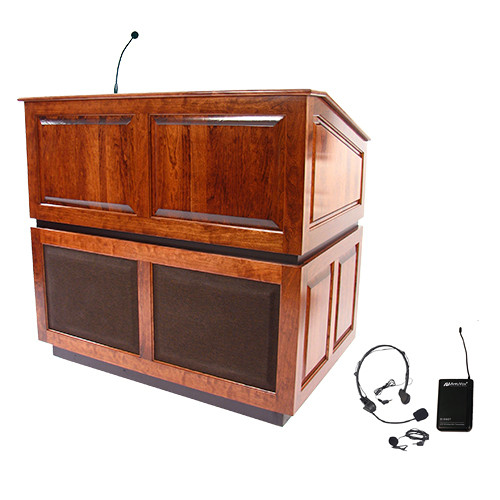 AmpliVox Sound Systems Ambassador Lectern with Sound System and Wireless 16 Channel UHF Lapel and Headset Mic Kit (Mahogany)