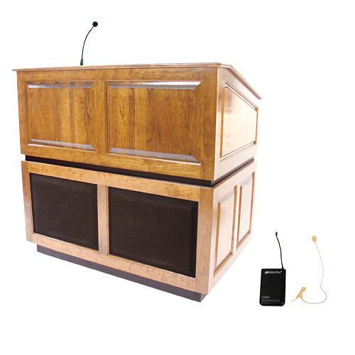 AmpliVox Sound Systems Ambassador Lectern with Sound System and Wireless 16 Channel UHF Single Over-Ear Headset Electret Mic Kit (Maple)