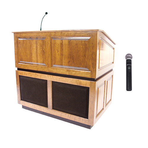 AmpliVox Sound Systems Ambassador Wireless Lectern with Handheld Mic (Maple)