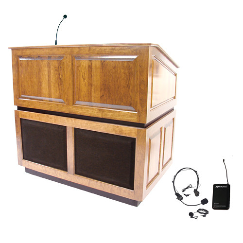AmpliVox Sound Systems Ambassador Lectern with Sound System and Wireless 16 Channel UHF Lapel and Headset Mic Kit (Maple)