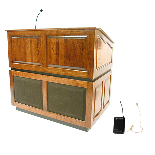 AmpliVox Sound Systems Ambassador Lectern with Sound System and Wireless 16 Channel UHF Single Over-Ear Headset Electret Mic Kit (Natural Oak)