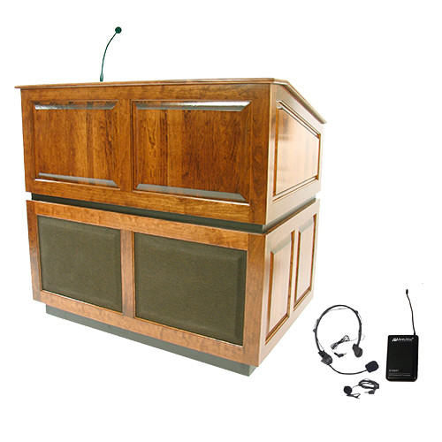 AmpliVox Sound Systems Ambassador Lectern with Sound System and Wireless 16 Channel UHF Lapel and Headset Mic Kit (Natural Oak)