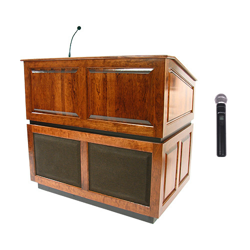 AmpliVox Sound Systems Ambassador Wireless Lectern with Handheld Mic (Walnut)